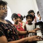 Aunty Tarini on the piano