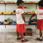 Children at EPL shelf