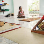 Children at work on mats