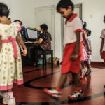 Children walking on the line